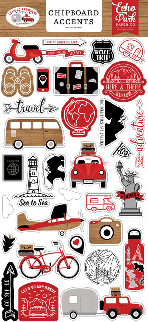 Let's Go Anywhere: 6x13 Chipboard Accents