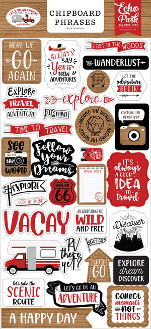 Let's Go Anywhere: 6x13 Chipboard Phrases