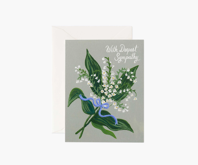 Rifle Paper Co: Lily of the Valley Sympathy- Single Card
