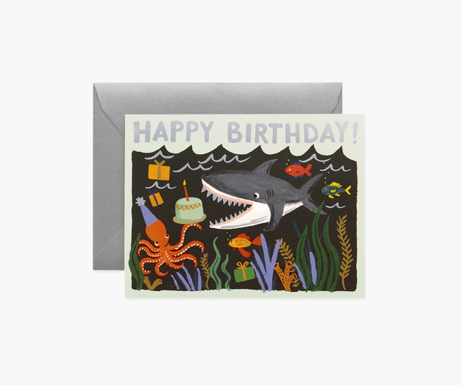 Rifle Paper Co: Shark Birthday- Single Card