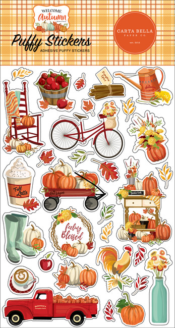 Welcome Autumn Puffy Stickers