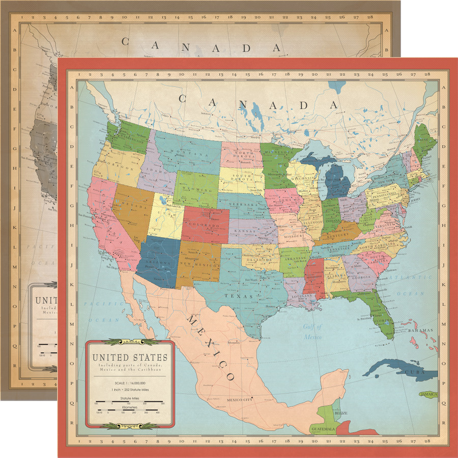 Cartography No. 1: US Map 12x12 Patterned Paper
