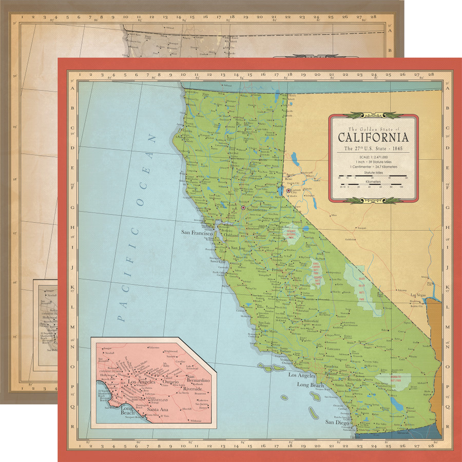 Cartography No. 1: California Map 12x12 Patterned Paper