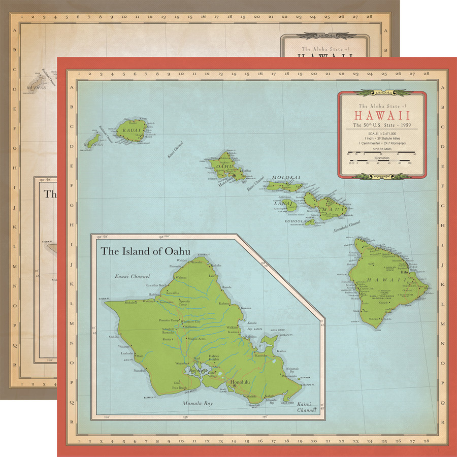 Cartography No. 1: Hawaii Map 12x12 Patterned Paper
