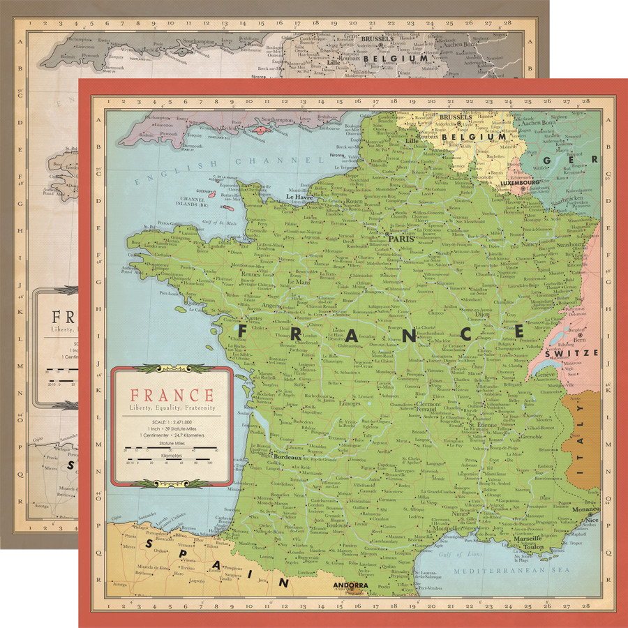 Cartography No. 1: France Map 12x12 Patterned Paper
