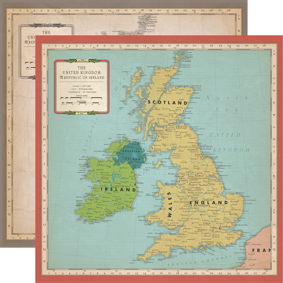Cartography No. 1: Great Britain Map 12x12 Patterned Paper