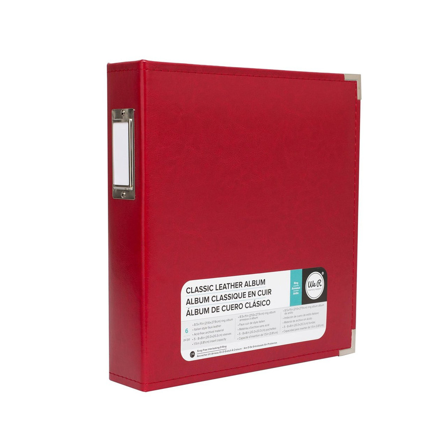 8.5x11 Leather Ring Album: Real Red