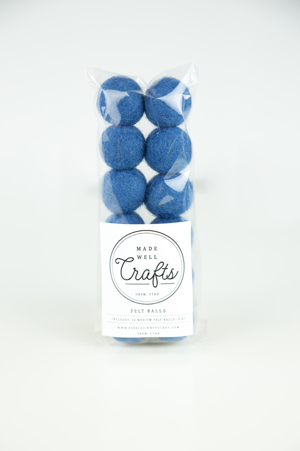 Felt Balls: Dusty Blue