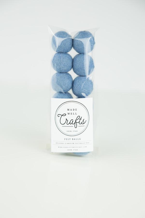 Felt Balls: Ice Blue
