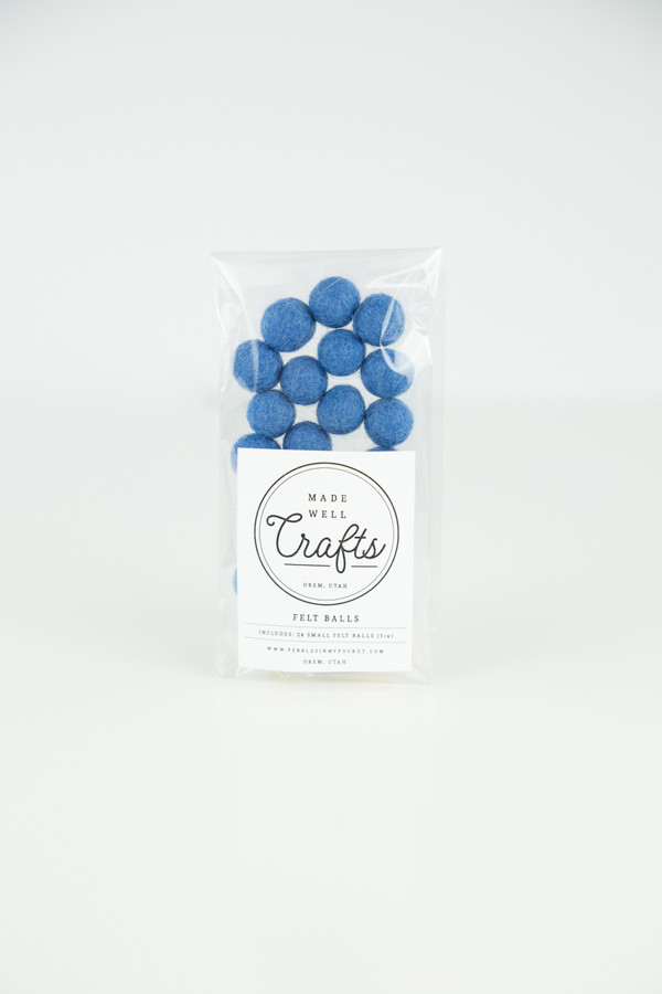 Small Felt Balls: Dusty Blue