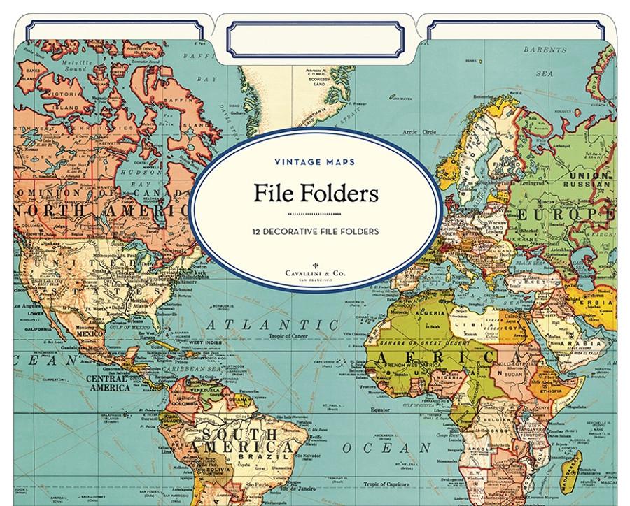 Cavallini & Co: World Map File Folders