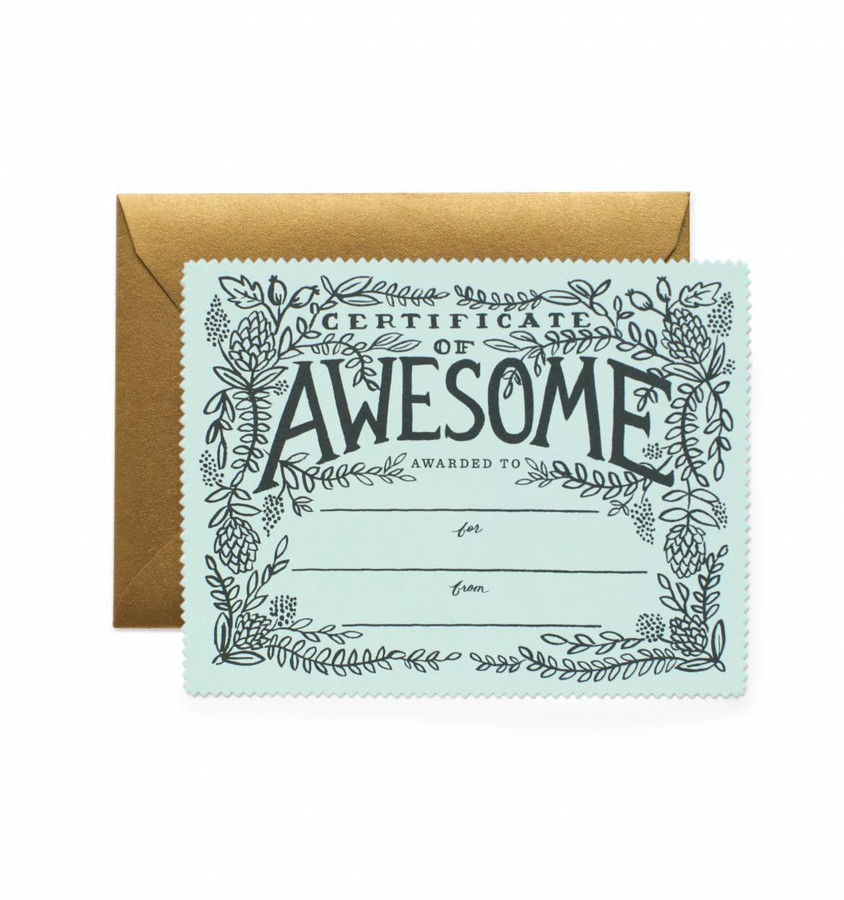 Rifle Paper Co: Certificate of Awesome Card