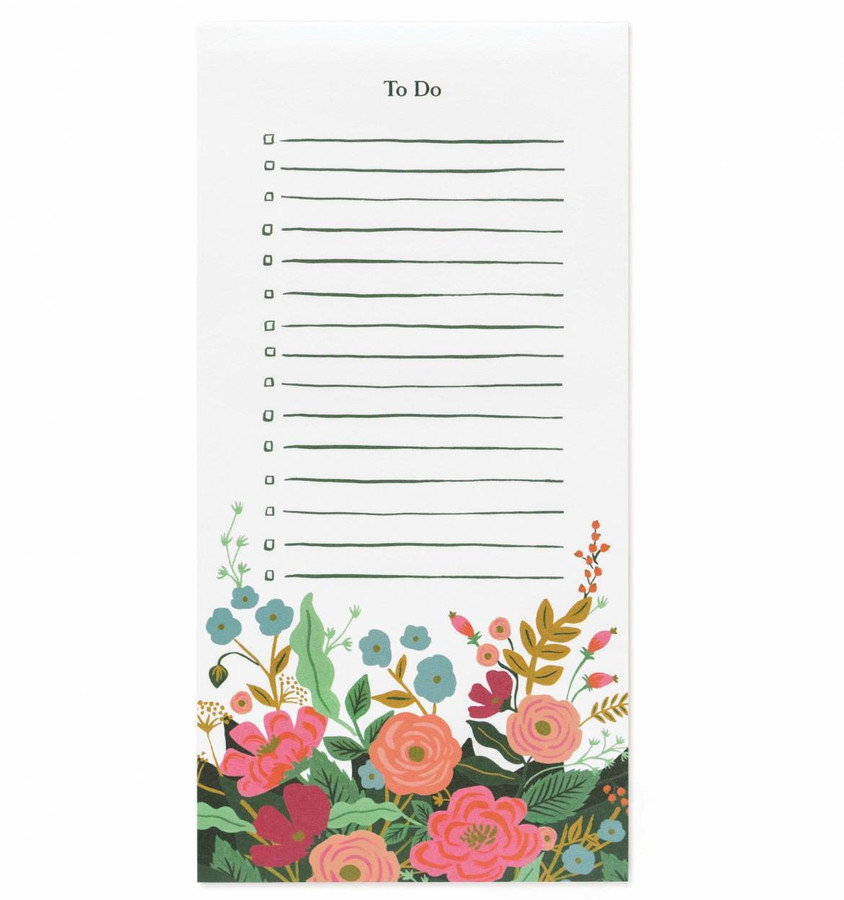 Rifle Paper Co: Floral Vines To Do Notepad