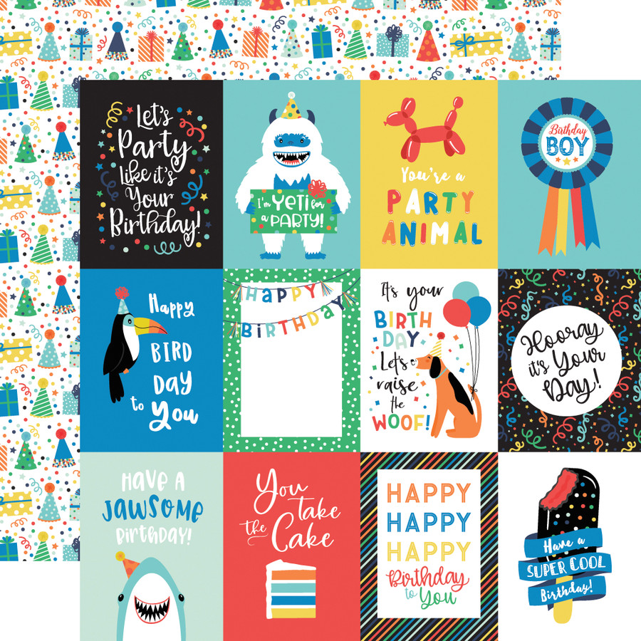 It's Your Birthday Boy: 3X4 Journaling Cards 12x12 Patterned Paper