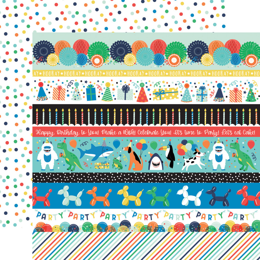 It's Your Birthday Boy: Border Strips 12x12 Patterned Paper