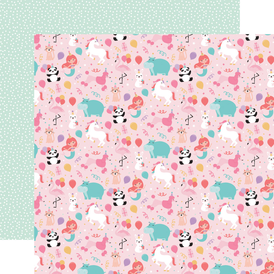 It's Your Birthday Girl: Girl Party Animals 12x12 Patterned Paper