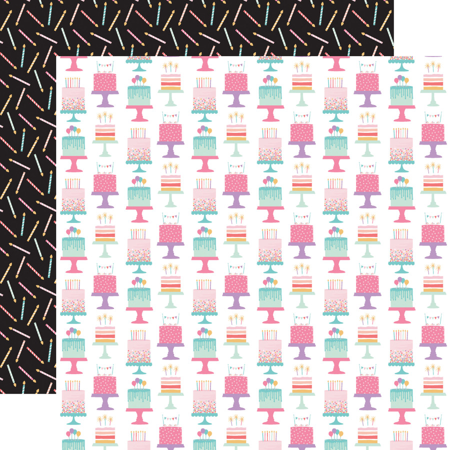 It's Your Birthday Girl: Birthday Girl Cakes 12x12 Patterned Paper