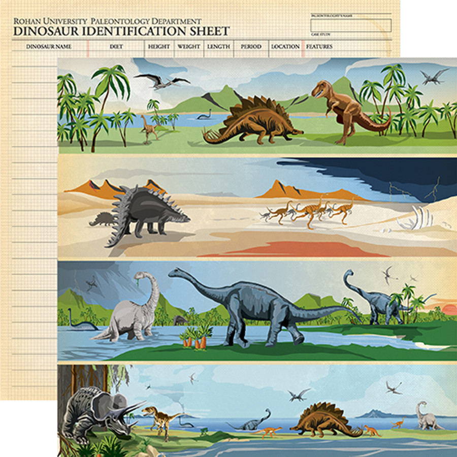 Dinosaurs: Border Strips 12x12 Patterned Paper