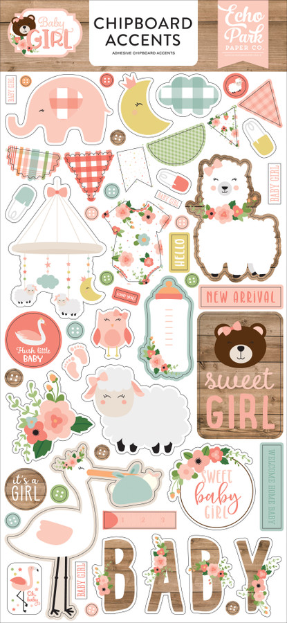 Baby Girl: 6x13 Chipboard Accents