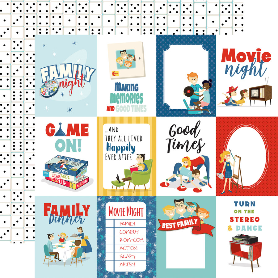 Family Night: 3X4 Journaling Cards 12x12 Patterned Paper