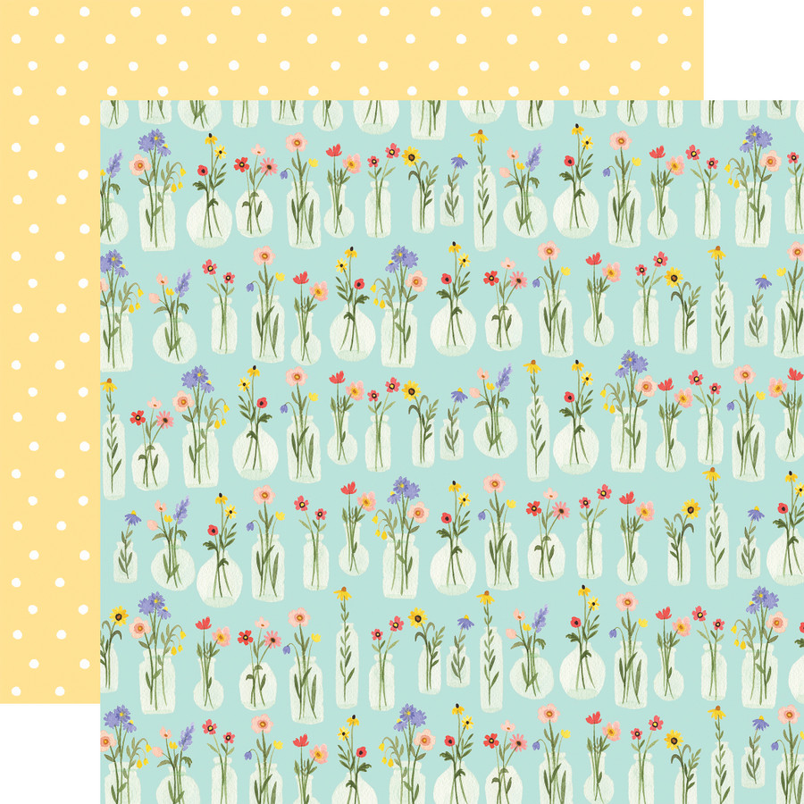 Oh Happy Day: Flower Jars 12x12 Patterned Paper