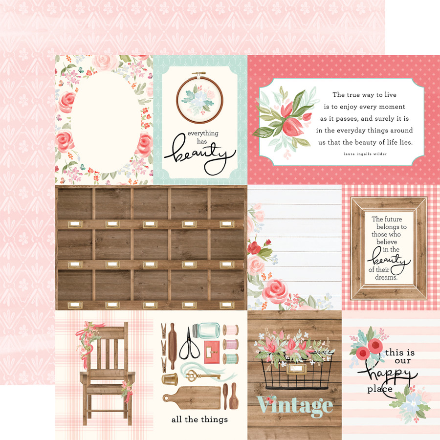 Farmhouse Market: 3X4 Journaling Cards 12x12 Patterned Paper