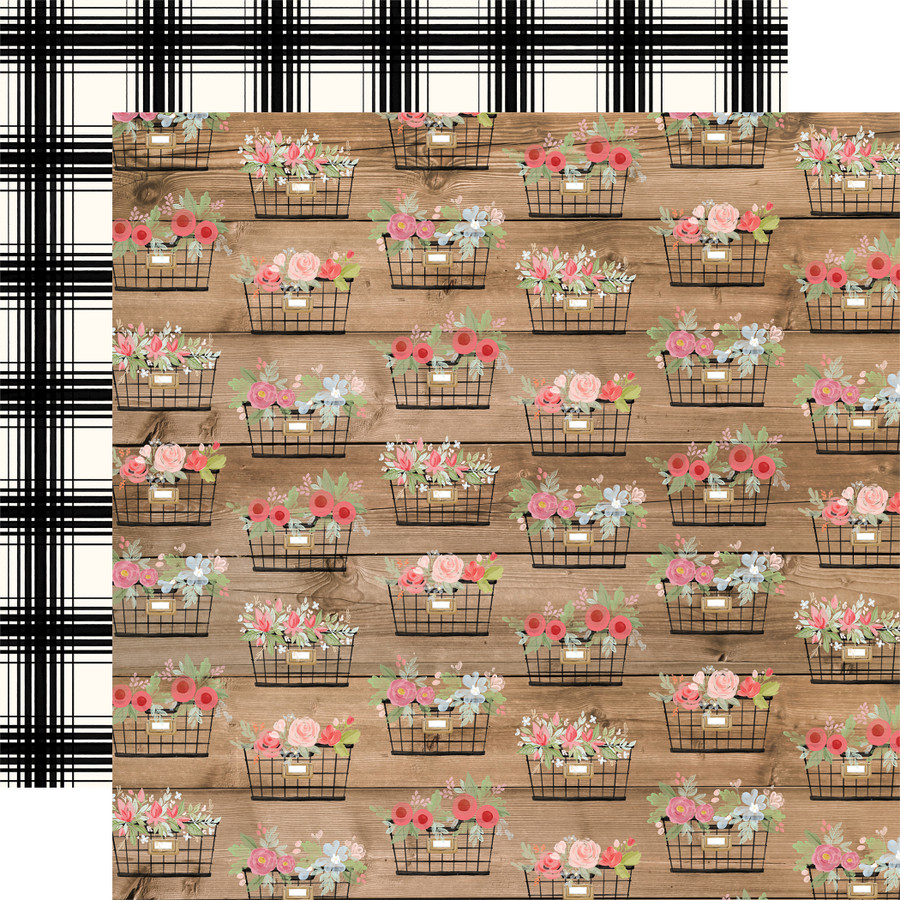 Farmhouse Market: Baskets 12x12 Patterned Paper