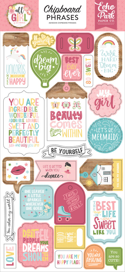All Girl: 6x13 Chipboard Phrases