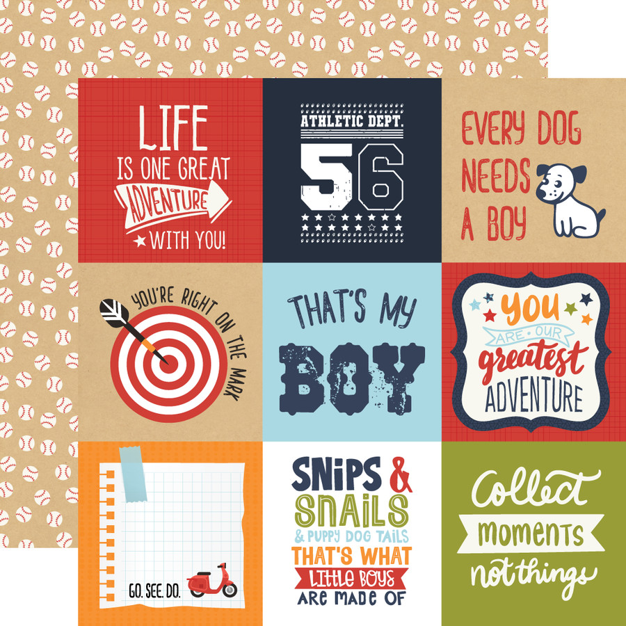All Boy: 4X4 Journaling Cards 12x12 Patterned Paper