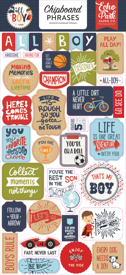 All Boy: 6x13 Chipboard Phrases