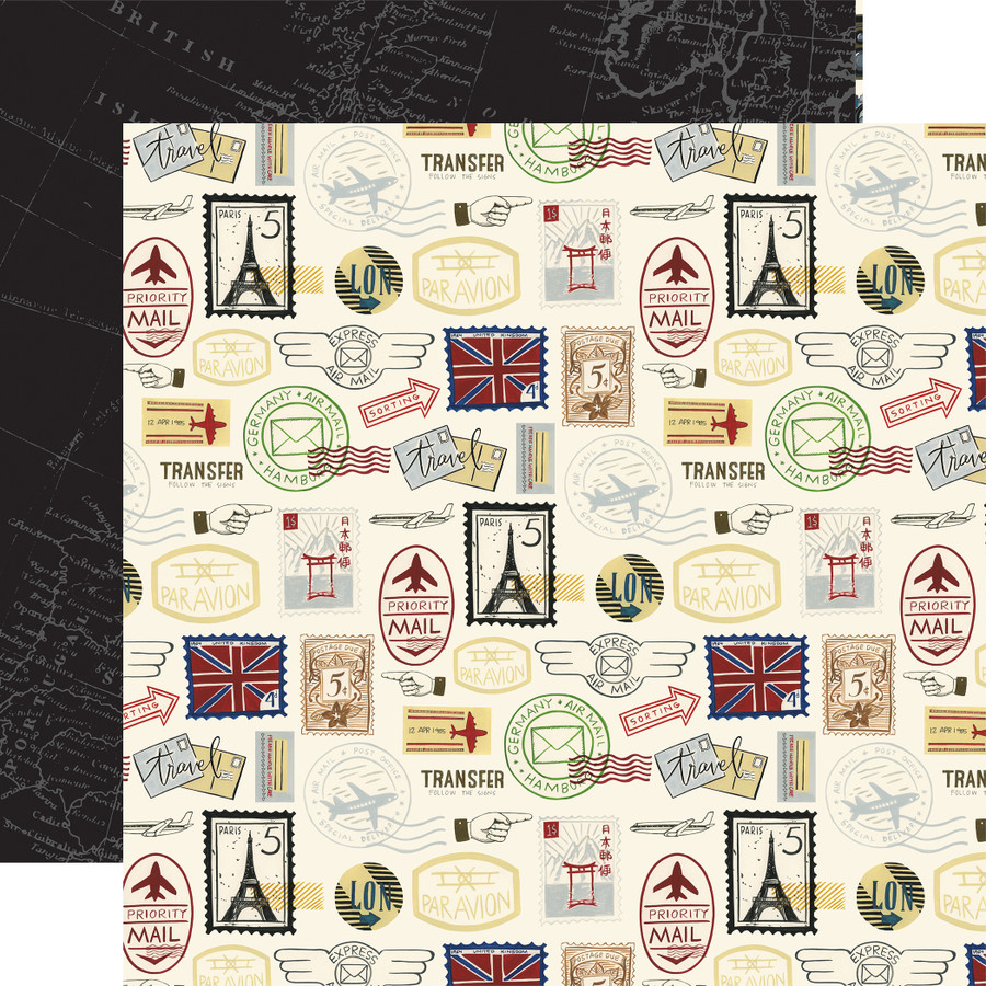 Scenic Route: Postage Stamps 12x12 Patterned Paper