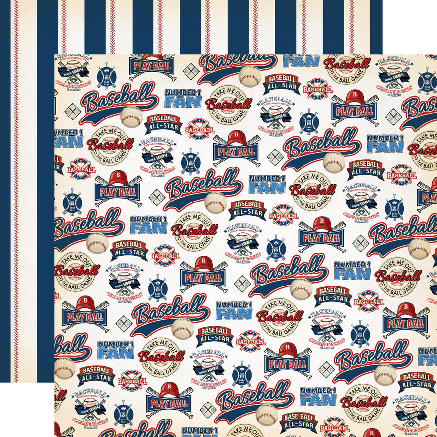 Baseball: Number One Fan 12x12 Patterned Paper