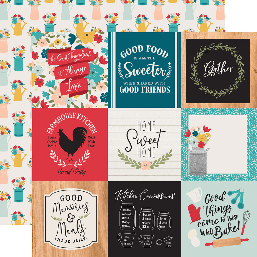 Farmhouse Kitchen: 4x4 Journaling Cards 12x12 Patterned Paper