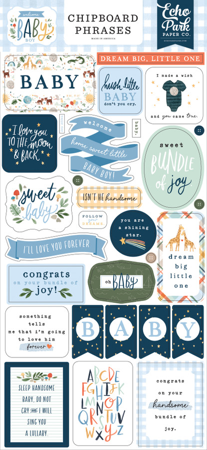Welcome Baby Boy: 6x13 Chipboard Phrases