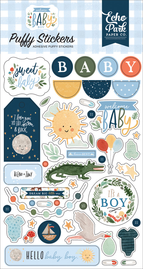 Welcome Baby Boy: Puffy Stickers