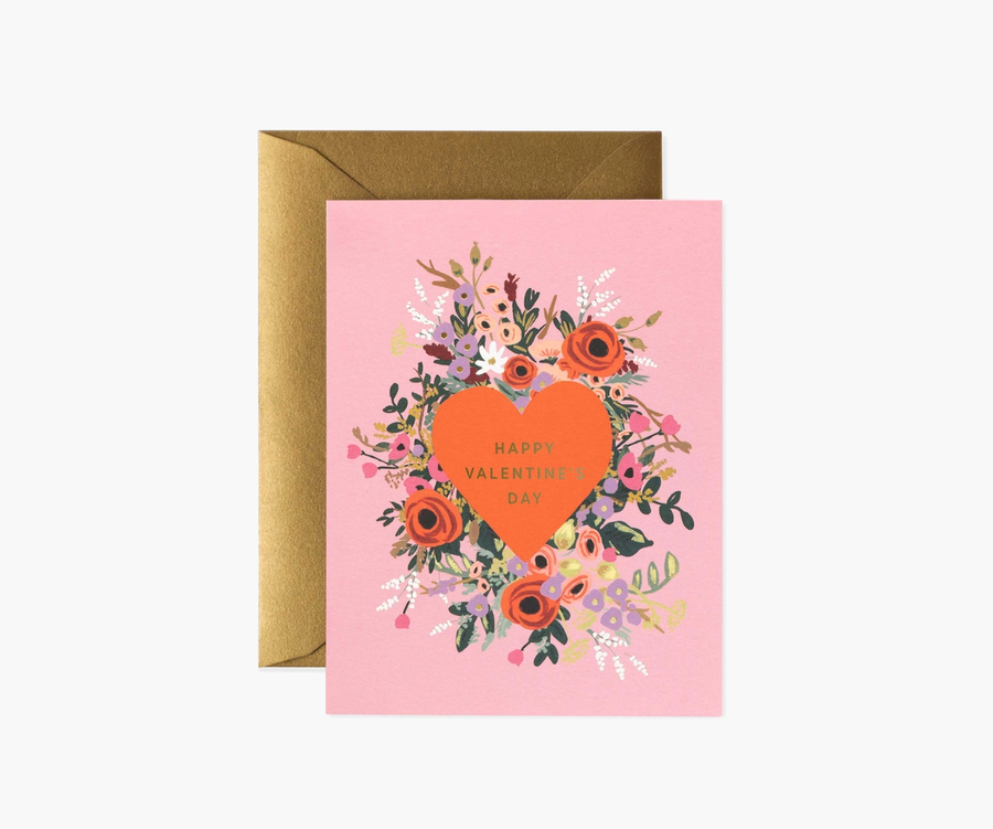 Rifle Paper Co: Blooming Heart Valentine- Single Card