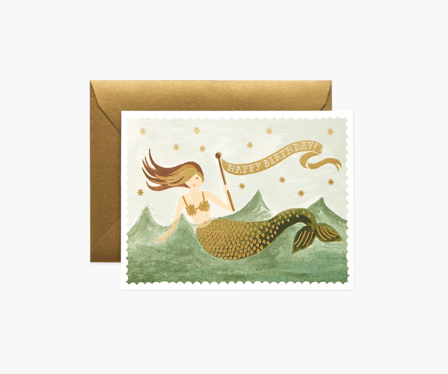 Rifle Paper Co: Vintage Mermaid- Single Card