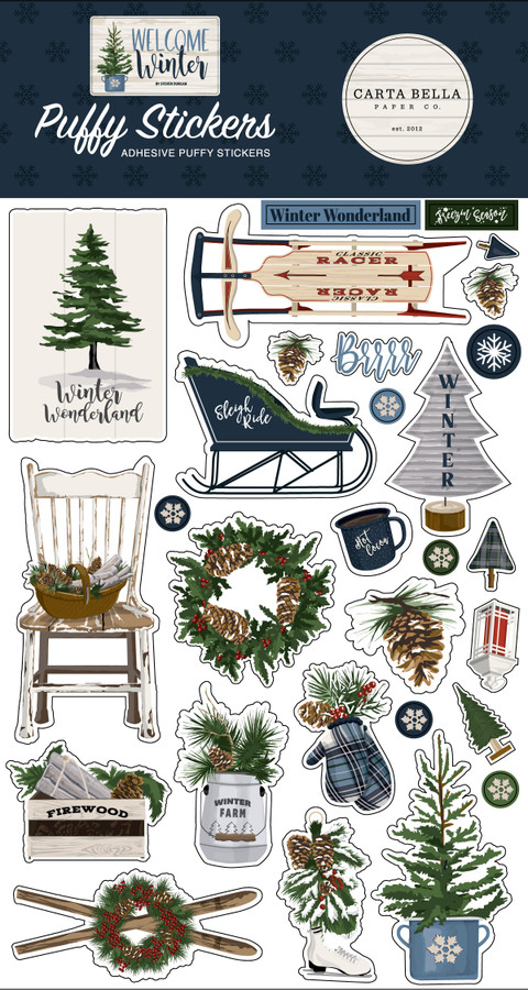 Welcome Winter Puffy Stickers