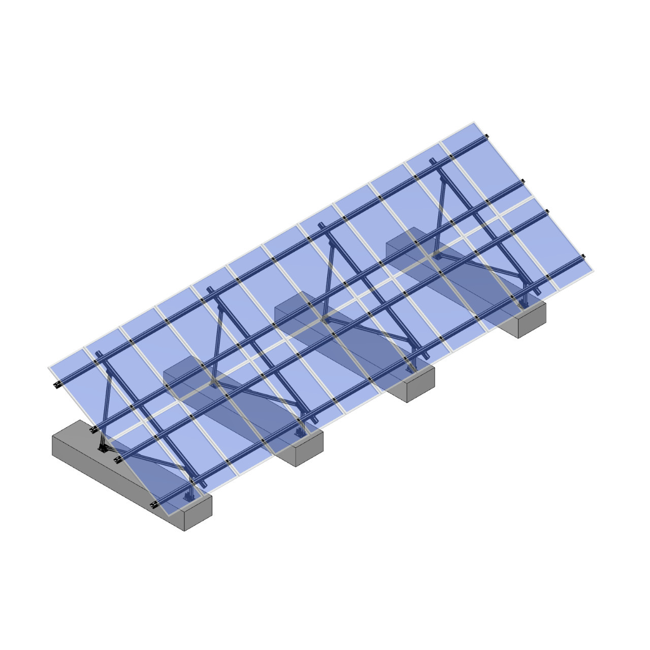 Schletter - PVMax 2Vx12-30deg-Concrete-Transparent-Panels