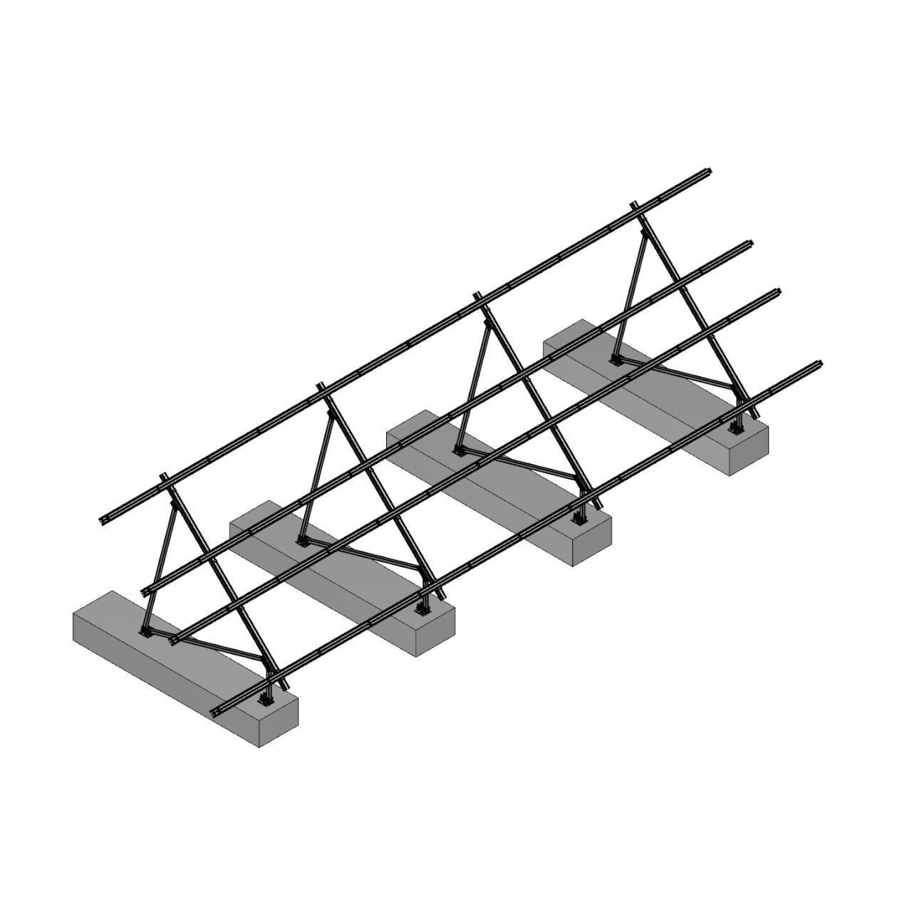Schletter - PVMax 2Vx12-45deg-Concrete-No-Panels