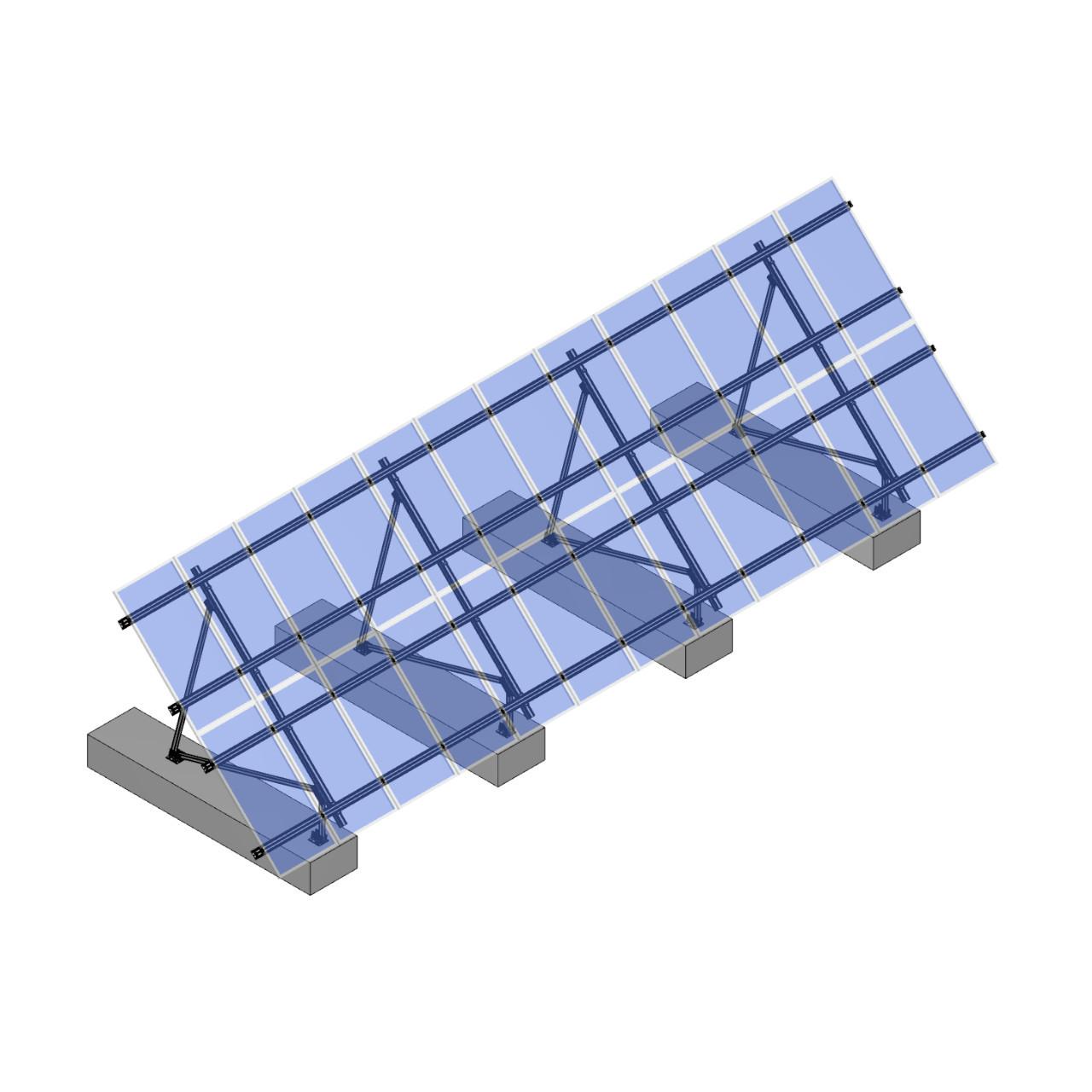 Schletter - PVMax 2Vx12-45deg-Concrete-Transparent-Panels