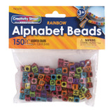 Alphabet Beads, Assorted Rainbow Colors, 6 mm, 150 Count