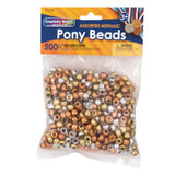 Pony Beads, Gold, Silver & Copper, 6 mm x 9 mm, 500 Count