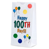 """Happy 100th Day Paper Bags, 5"""" x 3"""" x 9.75"""", Pack of 25"""