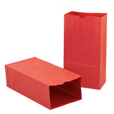 """Gusseted Paper Bags, #6 (6"""" x 3.5"""" x 11""""), Red, Pack of 50"""
