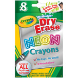 Dry Erase Crayons, Neon, Large Size, 8 Count