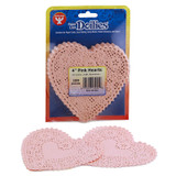 """Heart Doilies, Pink, 4"""", Pack of 100"""