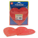 """Heart Doilies, Red, 6"""", Pack of 100"""