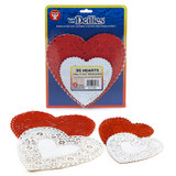 """Doilies, White & Red Hearts, 24 Each, 4"""", 6"""""""