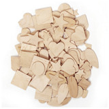 """Wood Shapes, Natural Colored, Assorted Shapes, 0.5"""" to 2"""", 350 Pieces"""